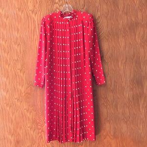Albert Nipon red vintage dress, knife pleats